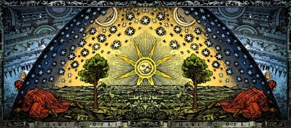 C._Flammarion_-_Universum_-_Paris_1888_-_Colored_Heliocentric_Panorama