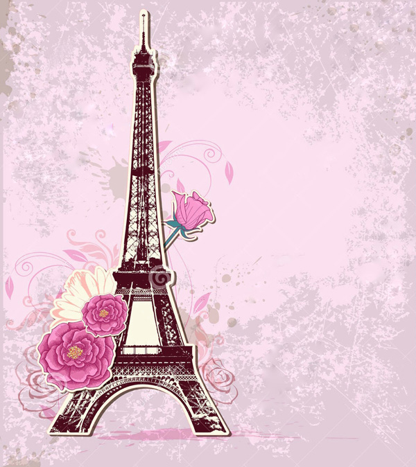 EiffelTower-PinkFlowers